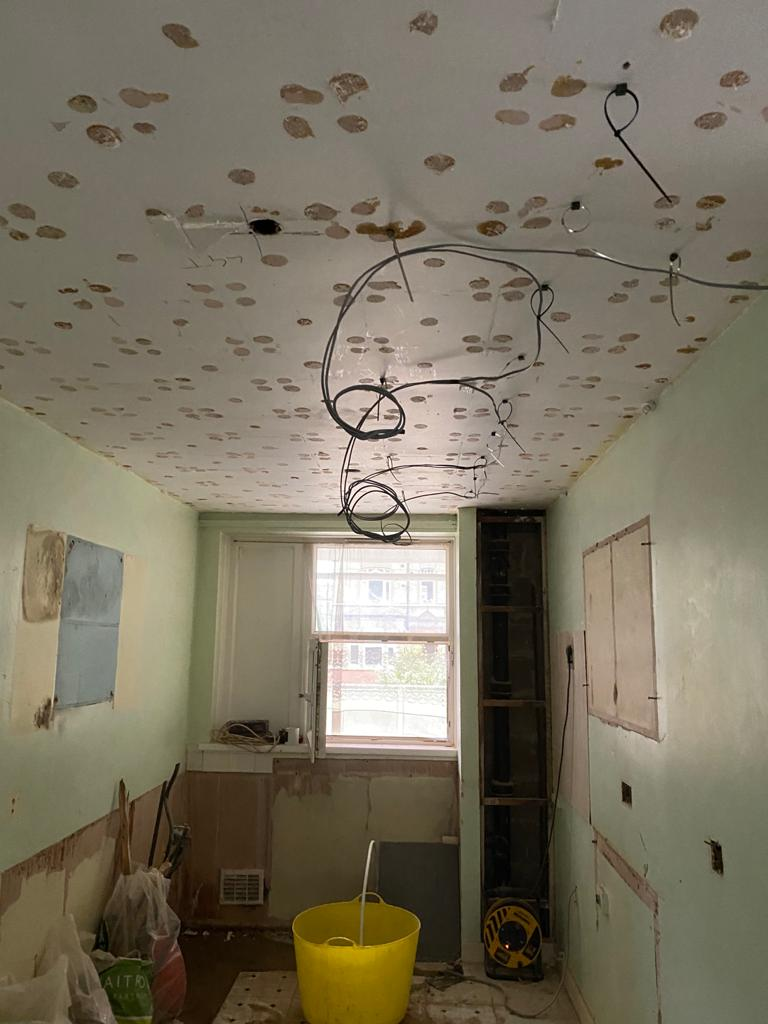ceiling prep for a lighting project