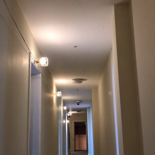 electric lights in a hall